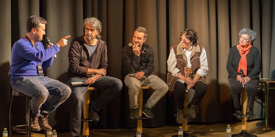 De izquierda a derecha: Oliver Garvín, coordinador de las Jornadas; Fernando León de Aranoa, director de cine; Daniel Guzmán, actor; Lola Salvador, guionista de cine y Sol Carnicero